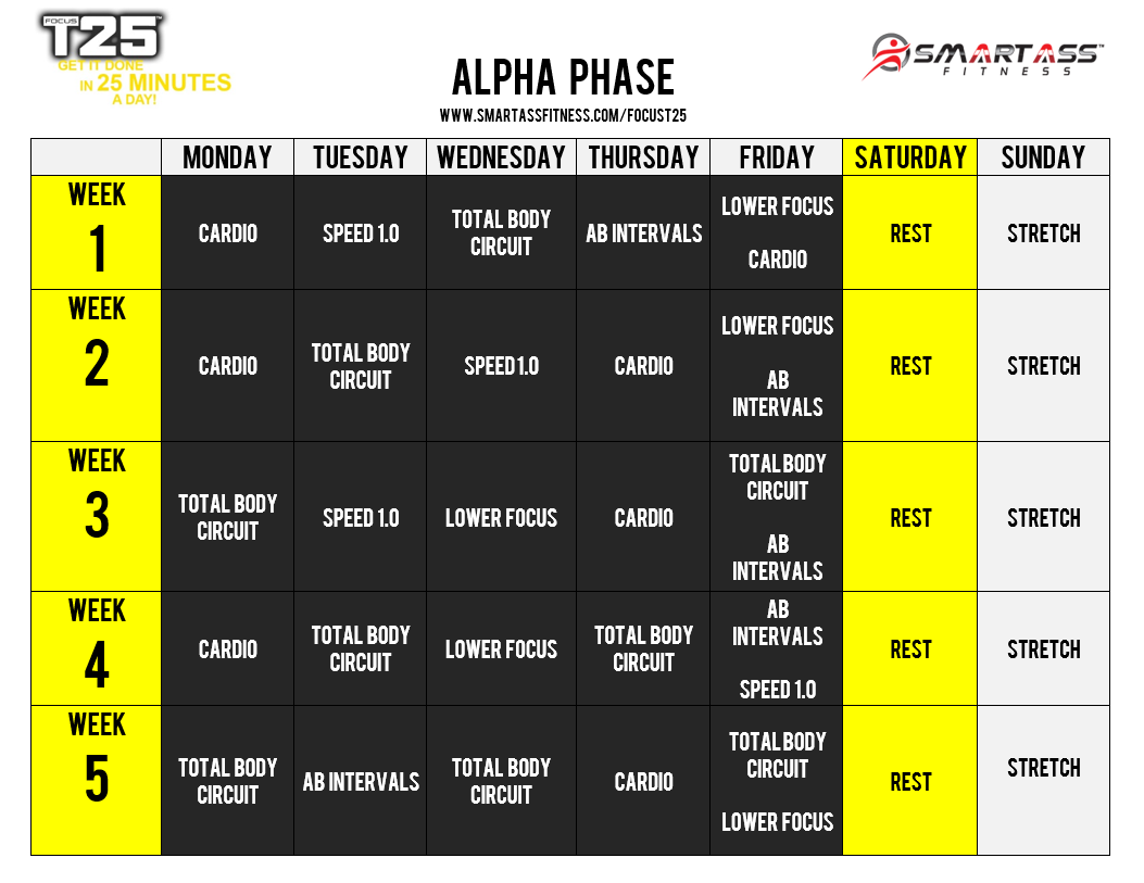 Focus T25 Schedule - Alpha Phase